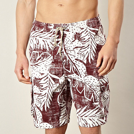 Mantaray - Red hibiscus print swim shorts