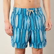 Big and tall blue surf board print swim shorts