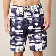 Big and tall navy photo montage swim shorts