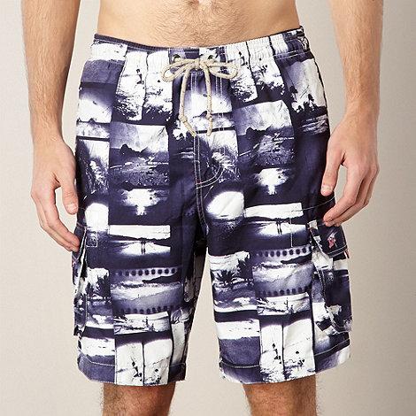 Mantaray - Navy photo montage swim shorts