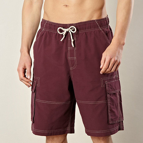 Mantaray - Dark red stitched cargo  swim shorts