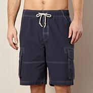 Big and tall navy stitched cargo swim shorts