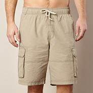 Big and tall natural stitched cargo swim shorts