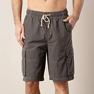 Big and tall khaki stitched cargo swim shorts
