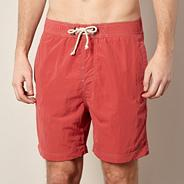 Red poplin swim shorts