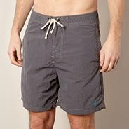 Big and tall dark grey poplin swim shorts