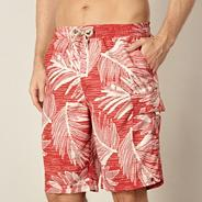 Red leaf printed swim shorts