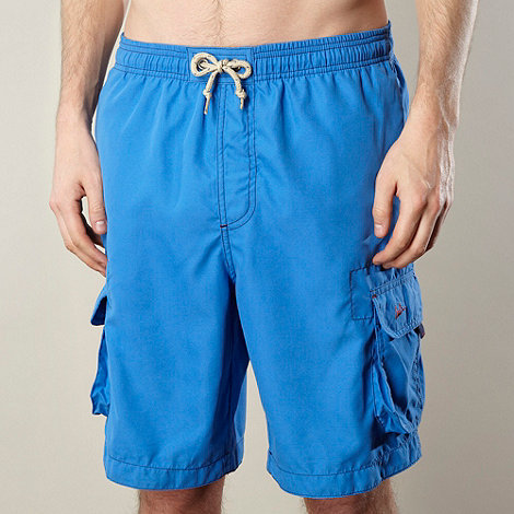 Mantaray - Bright blue plain cargo swim shorts
