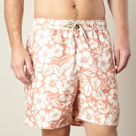 Mantaray - Orange twill effect hibiscus swim shorts