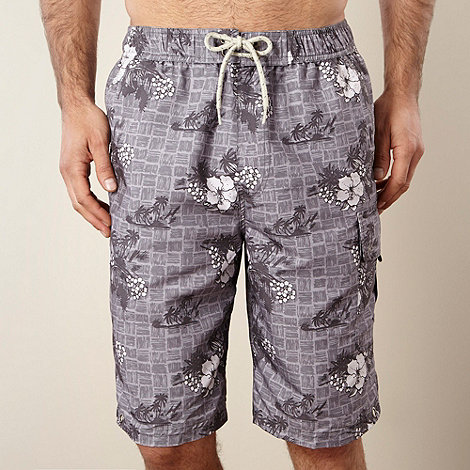 Mantaray - Grey grid hibiscus swim shorts