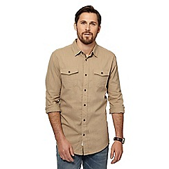 Mantaray - Big and tall tan herringbone textured shirt