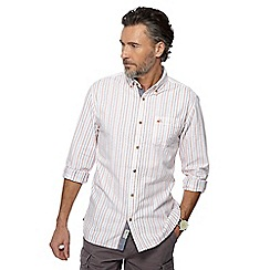 Mantaray - Big and tall white textured striped shirt