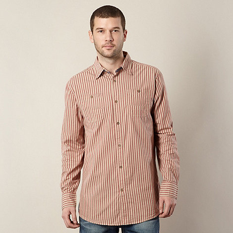 Mantaray - Beige striped chambray trim long sleeved shirt
