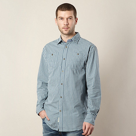 Mantaray - Big and tall blue textured striped shirt