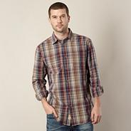 Big and tall purple checked long sleeved shirt