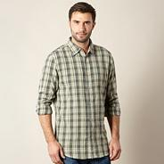 Khaki small jacquard checked shirt