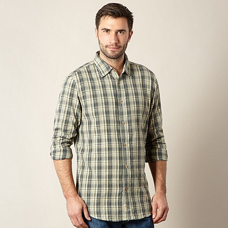Mantaray - Big and tall khaki small jacquard checked shirt