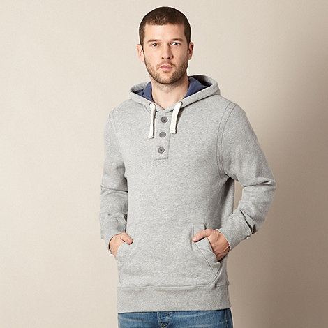 Mantaray - Grey button neck hoodie