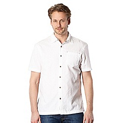 Mantaray - Big and tall white textured check shirt