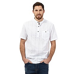 Mantaray - Big and tall white textured grandad shirt