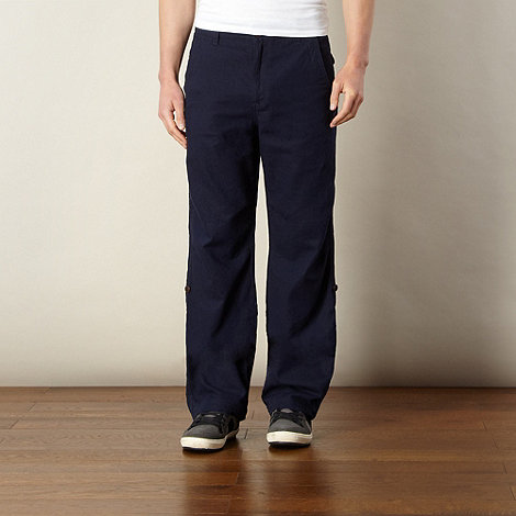 Mantaray - Navy linen blend roll cuff trousers
