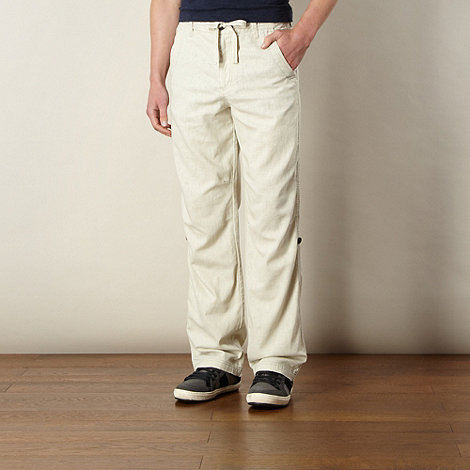 Mantaray - Big and tall natural linen blend roll cuff trousers