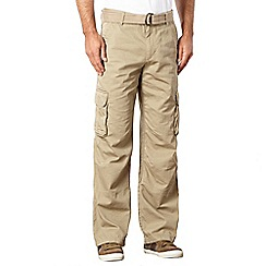 Mantaray - Big and tall taupe herringbone cargo trousers