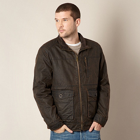 Mantaray - Chocolate waxed three pocket harrington jacket