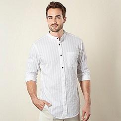Mantaray - White textured striped collarless shirt