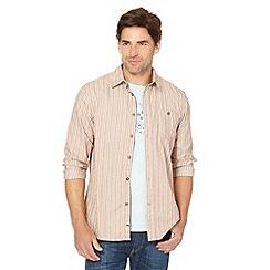 Mantaray - Tan herringbone striped shirt