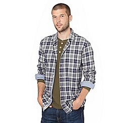 Mantaray - Big and tall blue marl checked long sleeve shirt
