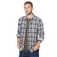 Blue marl checked long sleeve shirt