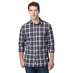 Mantaray - Navy classic herringbone checked shirt