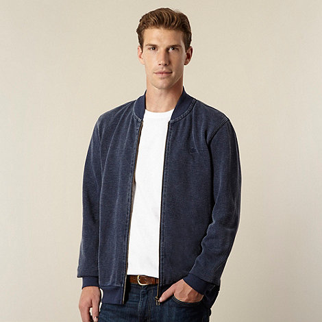 Mantaray - Big and tall navy pique baseball jacket