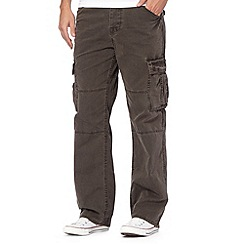 Mantaray - Big and tall grey canvas cargo trousers