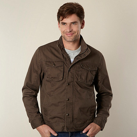 Mantaray - Big and tall chocolate funnel neck harrington jacket