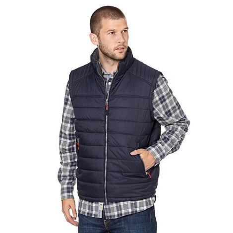 Mantaray - Big and tall navy padded funnel neck gilet