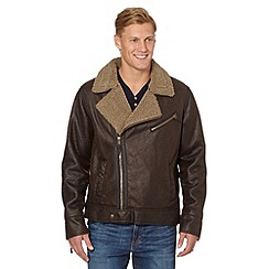 Mantaray - Brown faux leather and fleece biker jacket