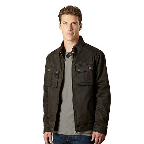 Mantaray - Chocolate waxed biker jacket
