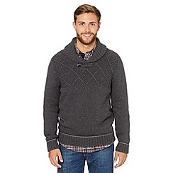 Mantaray - Dark grey shawl neck knitted top