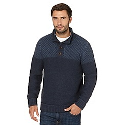 Mantaray - Navy fisherman knitted button neck jumper