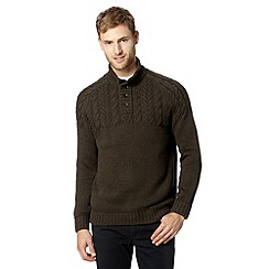 Mantaray - Big and tall dark green merino cable knit jumper