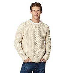 Mantaray - Big and tall natural cable knit ribbed jumper