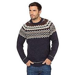 Mantaray - Big and tall navy patterned jumper