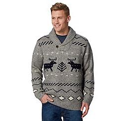 Mantaray - Grey reindeer wool blend fairisle knit jumper