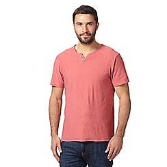 Mantaray - Big and tall pink open button neck t-shirt