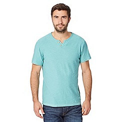 Mantaray - Light turquoise open button neck t-shirt