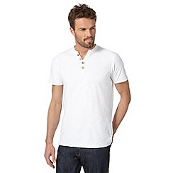 Mantaray - Big and tall white low Y neck t-shirt