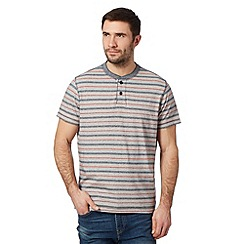 Mantaray - Blue striped button neck t-shirt