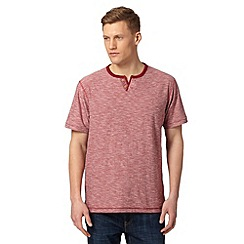 Mantaray - Big and tall red marl open button neck t-shirt